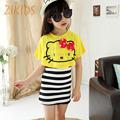 Lovely Hello Kitty Girl Dresses Casual Summer Striped Mini Dress Cats Bat Shirts Girls Clothing Sets