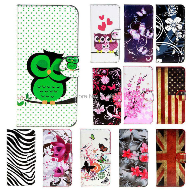 Art PU Leather Flip Stand Design Phone Case for LG Leon Cover Polka Dots Owl Butterfly Flower Zebra Flag 4G LTE H340N C50 C40(China (Mainland))
