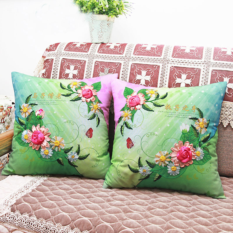 Online buy wholesale ribbon embroidery cushion covers from
