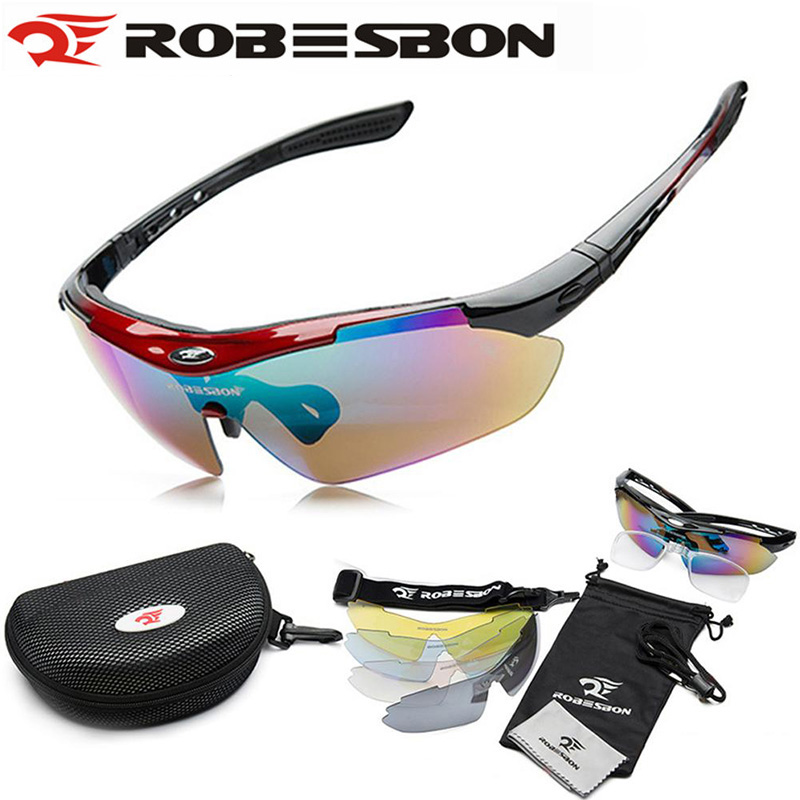 ROBESBON UV400 MTB Bicycle Bike Glasses Sunglasses Outdoor Cycling Glasses Eyewear High Goggle 5 Lens gafas ciclismo