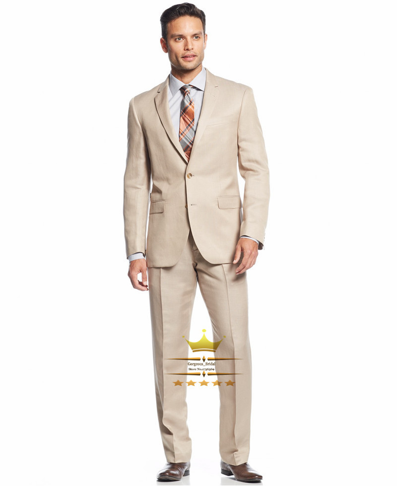 Champagne Mens Tuxedos Custom Made Wedding Suit For Men With Pants Slim Fit Notch Lapel Two Buttons Jacket +  Pants +Tie   HZ046Одежда и ак�е��уары<br><br><br>Aliexpress