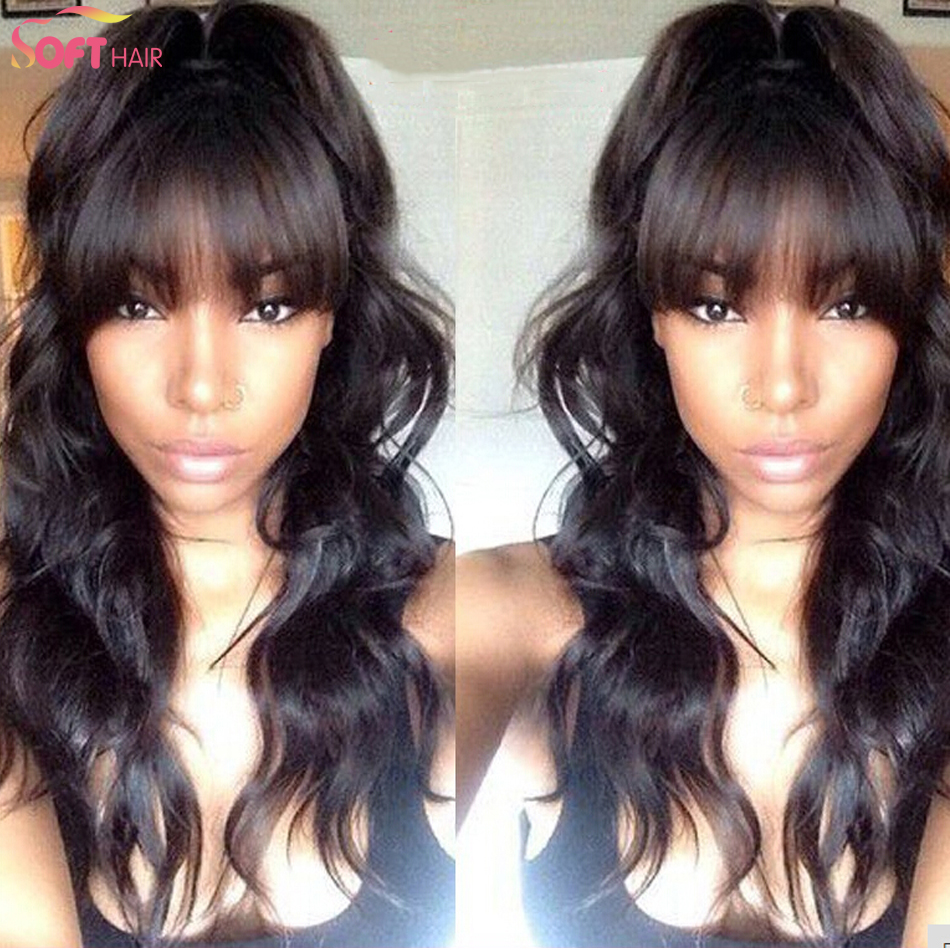 Гаджет  Fashion Brazilian Virgin Hair body wave wigs for women long hair lace front body wave wigs with bangs black color None Волосы и аксессуары