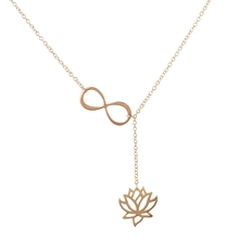 2016 New Fashion Infinity Lotus Lariat  Pendant Necklace for Women Y Style Chain  Flower Necklace Jewelry Gift N043