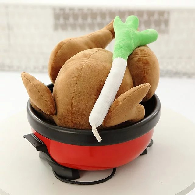 Funny plush toy stuffed doll Roast Chicken with scallion cute baby birthday christmas gift set free shipping children play house(China (Mainland))