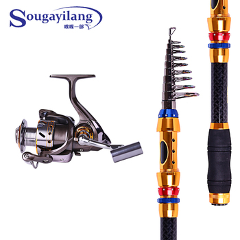 High Quality 2.7m Carbon Telescopic Fishing Rod Combo 3000 Series 13BB Metal Spinning Fishing Reel Fishing Tackle Rod Combo