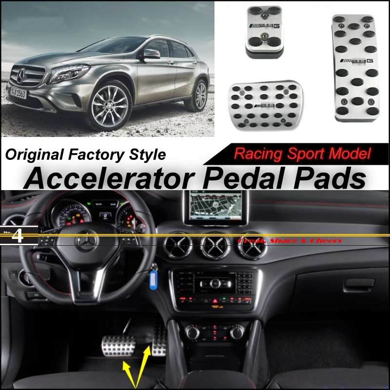 Car Accelerator Pedal Pad / Cover Factory Sport Racing Design Mercedes Benz GLA Class MB X156 AT Foot Throttle