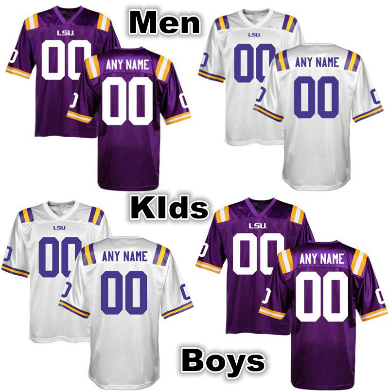 New Arrival Custom LSU Tigers Jersey College Customized Any Name Number Men Women Kid White Purple Stitched Super Quality Hot(China (Mainland))