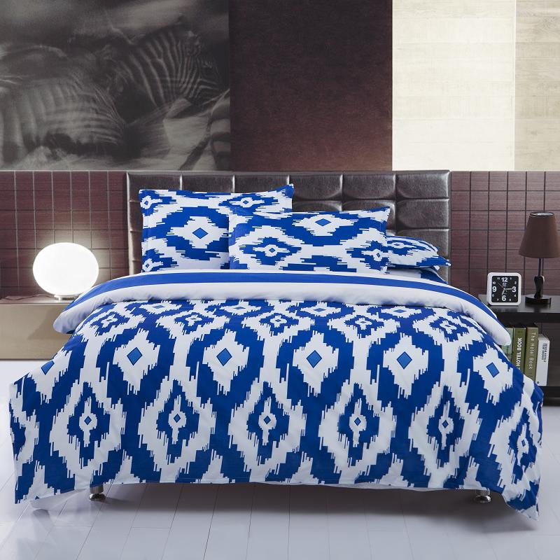 New Hot blue and white bedding sets Full/Queen Size Bedspread 4pcs Bed Linen Bed Sheets Duvet Cover Set(China (Mainland))