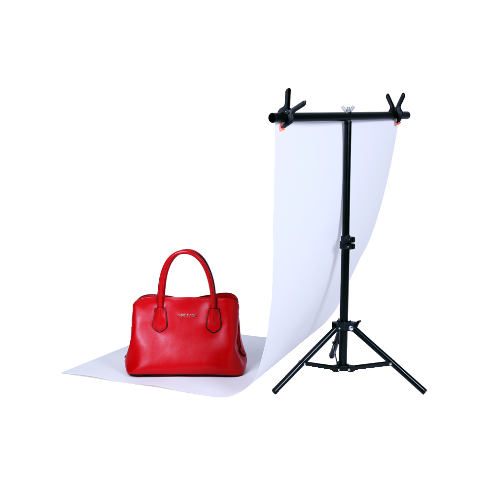 Photography Small 76*68CM PVC Backdrop Background Support Stand System T- Frame Light Stand With 2PCS 3.5'' Clamp(China (Mainland))