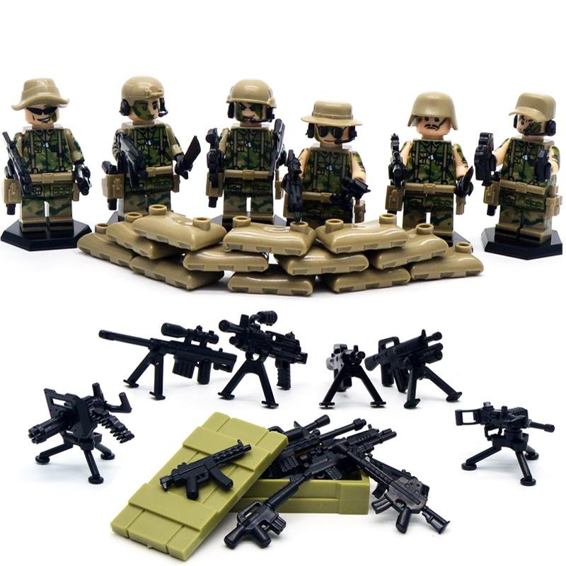 6 pcs/lot SWAT World Warfare II Troops Navy commandos Child Child Toy Constructing Blocks Units troopers Minifigures Assortment Brick