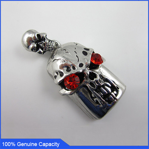 100% Genuine USB Flash Drive crystal necklace skull shaped memory stick pen drive 4GB 8GB 16GB 32GB cool pendrive Free shipping(China (Mainland))