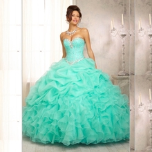 2015 New Stock Arrival Ball Gown Organza With Beads Quinceanera Dresses Dresses 15 Years Vestidos De 15 Anos Stock Size:2-16(China (Mainland))