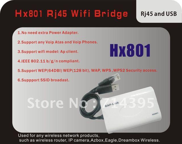 Free Shipping  HX801 RJ45 Mini free driver Wireless Bridge For Dreambox Xbox PS3 PC Camera TV ,Wifi Adapter with Retail Box