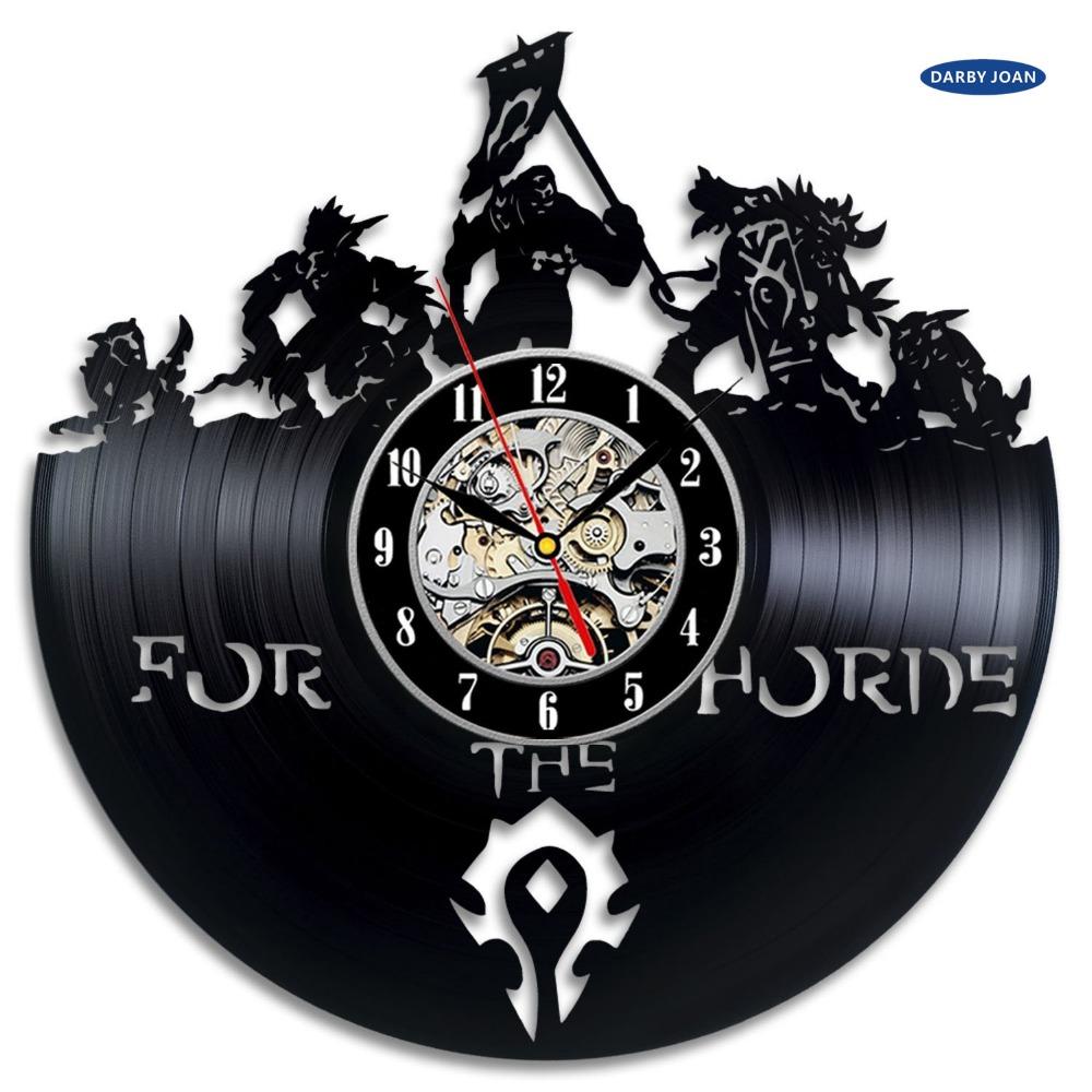 World of Warcraft WOW Gift Vinyl Wall Clock Vintage Decor Demon Illidan Figure,wall clock saat alarm clock reloj large(China (Mainland))