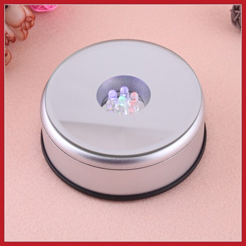 Professional dollarine Unique Small Round Rotating Crystal Display Base Stand Holder 5 LED Light #2 New wholesale 2014 Brand New(China (Mainland))