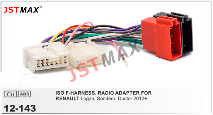 Jstmax Car Dvd Radio Stereo Iso Cable Adapter For Renault Logan  Sandero  Duster 2012  Wiring