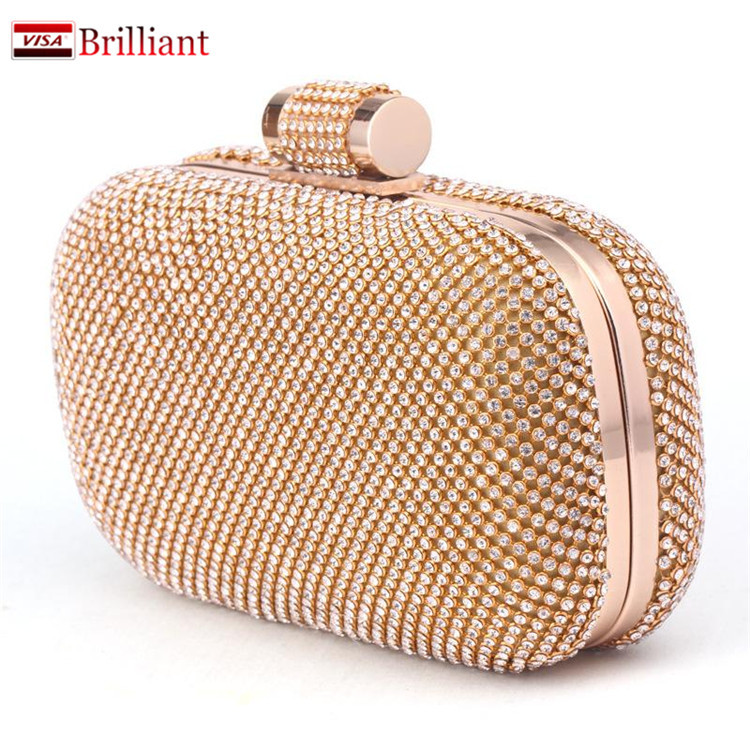 High Grade 2016 Luxury Diamond Evening Bags ,crystal ladies gold clutch women bag/ Day Clutches wedding purse handbags WE4585(China (Mainland))