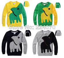 Free shipping Elephant pattern kids boy girls t shirt Sweatshirts Clothes child fleeces girls clothes suit ages 2-7 years old(China (Mainland))