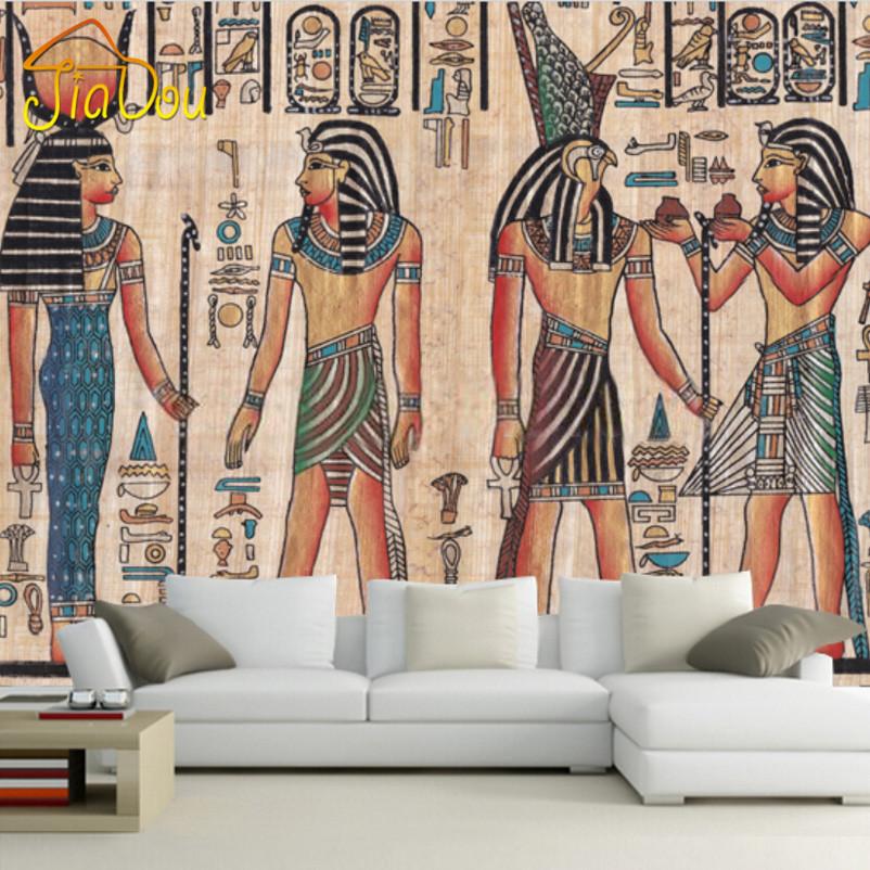 Custom mural wallpaper egypt retro pattern tv background for Egyptian mural wallpaper