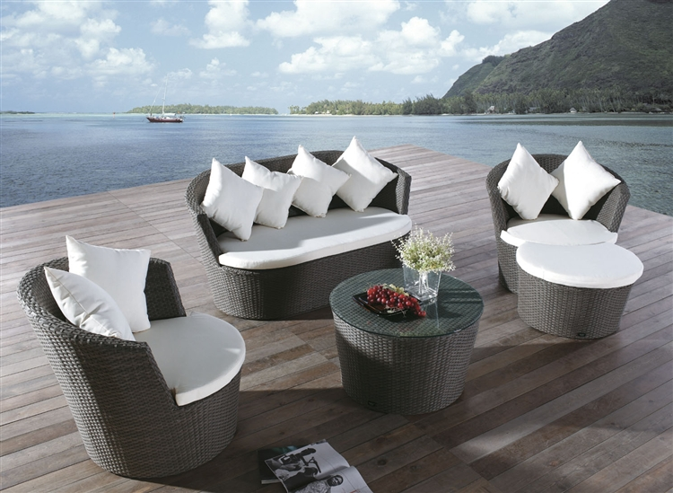 2016 Outdoor garden furniture 5pcs rattan round shape Sofa Set(China (Mainland))