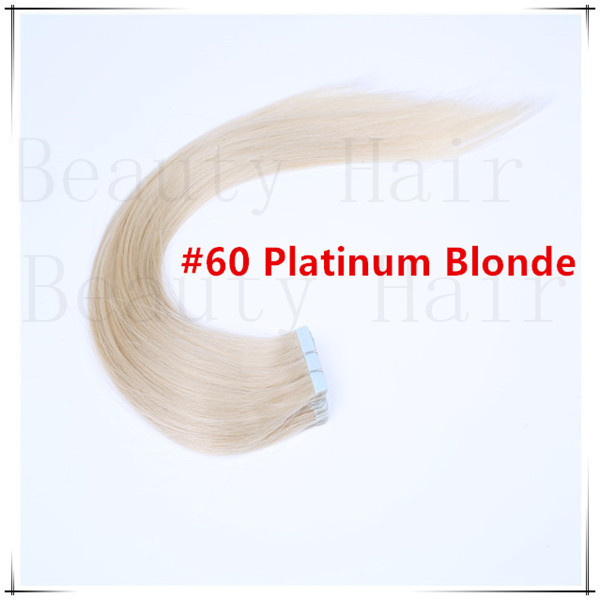 Cheap 30g/40g/50g/60g/70g #60 Platinum Blonde Adhesive PU Tape Hair Extensions Double Sided Skin Weft Hair Pieces 20pcs/pack(China (Mainland))