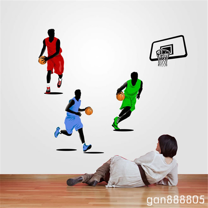 HOT Removable Playing Basketball Boys Player Wall Stickers Bedroom ...