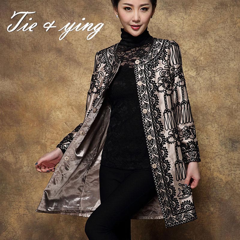 High quality puls size women emboridered trench coat O-neck long sleeve chinese style vintage slim ladies coat female M-4XL Одежда и ак�е��уары<br><br><br>Aliexpress