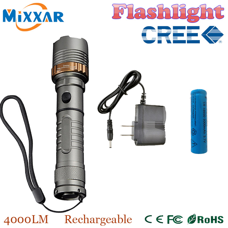 zk30 Self Defense LED flashlight Cree XM-L T6 Rechargeable 4000LM Torch lamps powerful Lantern Tactical 1x18650 5000mAh battery(China (Mainland))