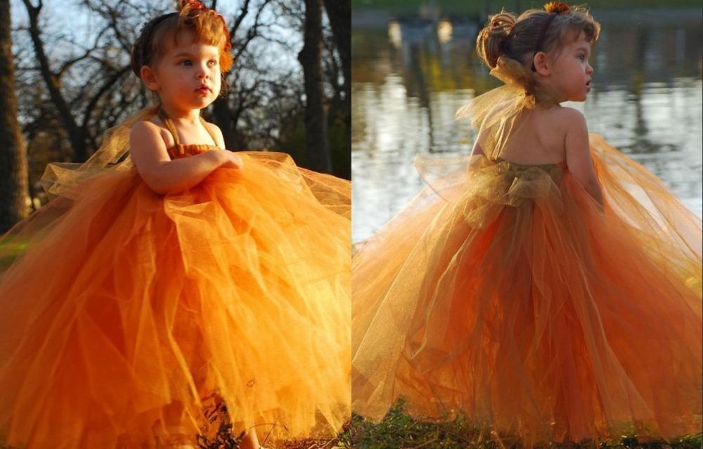 Orange Ball Flowers Orange Fluffy Tulle Ball Gown