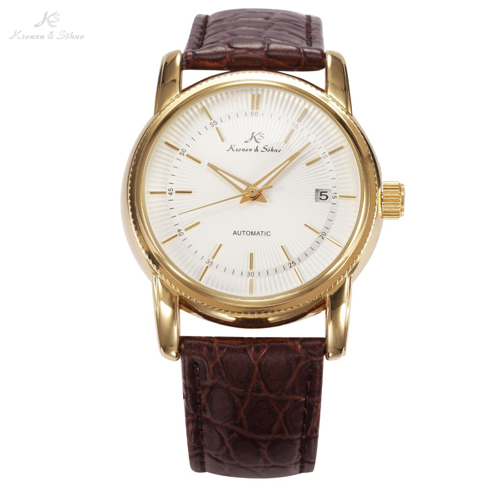 KS Luxury White Dial Gold Case Automatic Mechanical Movement Auto Date Analog Leather Strap Wrist Men Self Wind Watch /KS231(China (Mainland))