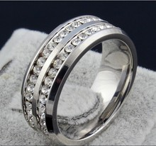 White 2 Row Lines CZ diamond Jewelry Free Shipping Wholesale Fashion Stainless Steel Ring