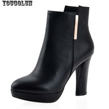 Winter Genuine Leather Women Ankle Boots High heels Fashion Platform Ladies Boot Sexy Woman Black Round Toe Thick Heel Shoe(China (Mainland))