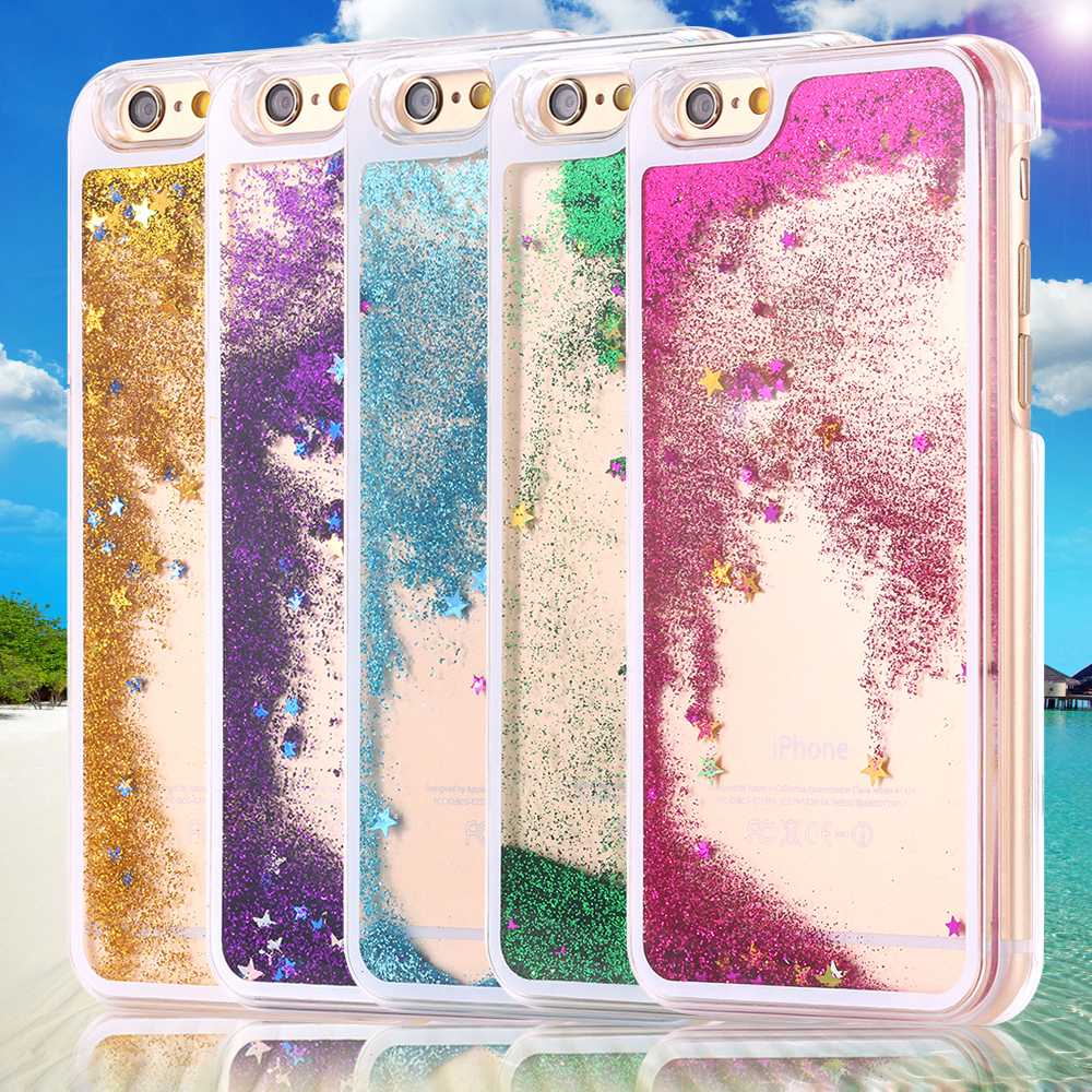 5S Case Bling Glitter Star Oil Quicksand Hourglass Hard PC Case For Iphone 5 5s 5g Transparent Clear Back Case Swim Fish Cover(China (Mainland))