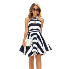 Buy Summer Dress Women 2017 Vintage Pinup Striped Dress Shoulder Patchwork Pleated Swing Party Dresses Female Vestidos Plus Size for $9.10 in AliExpress store