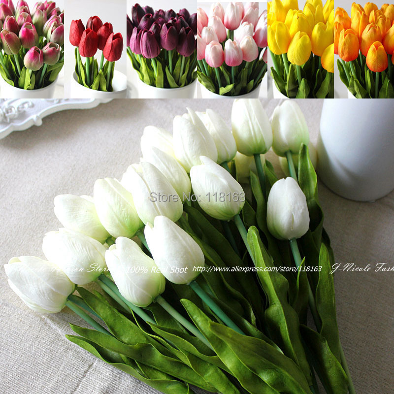 Wholesale 24pcs lot pu tulip artificial flowers wedding for Artificial flowers for home decoration online