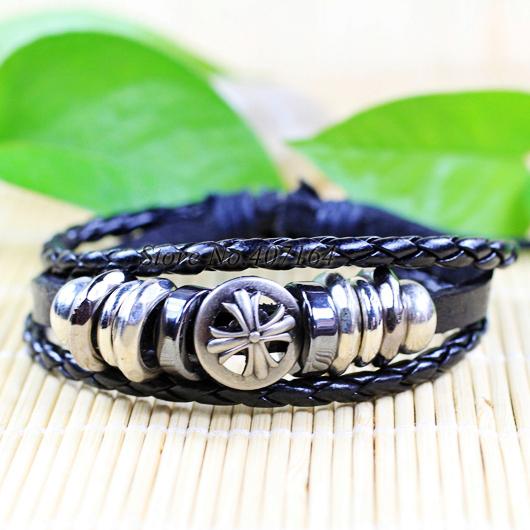 CB8- trendy handmade star style ethnic tribal zinc alloy black leather bracelets unisex - SunFlower Trade Co.,Ltd store