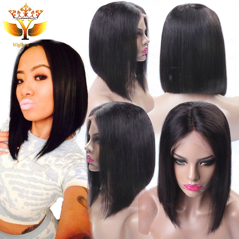 Фотография 7A Hot Charming Short Bob Cut Wigs with Baby Hair Glueless Virgin Brazilian Short Full Lace Human Hair Wigs Bob for Black Women