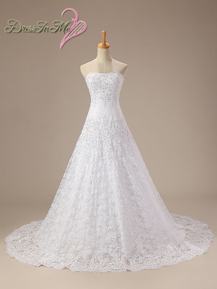 Strapless lace a line wedding dress pearl beaded lace up for Lace wedding dress with pearls