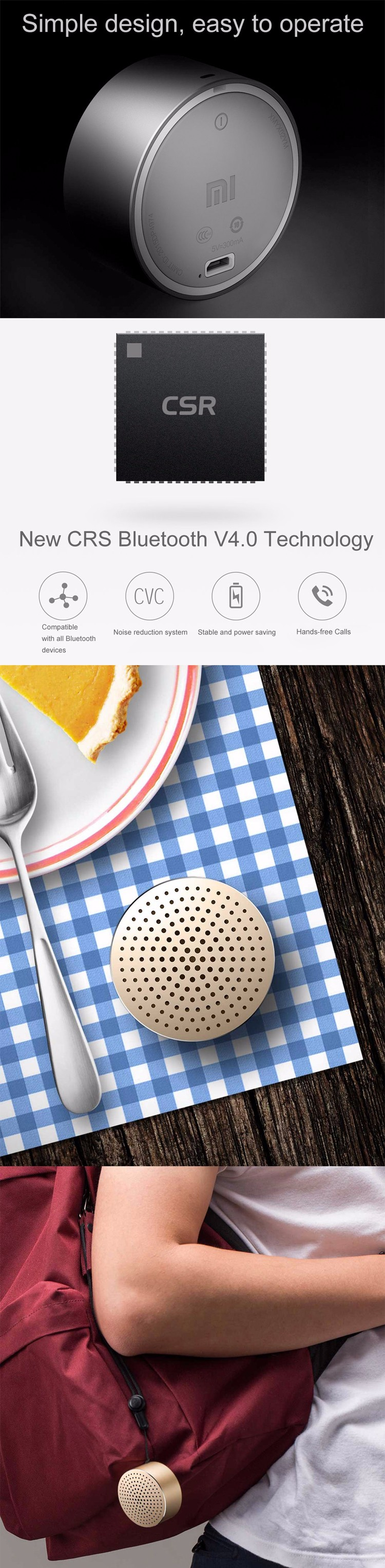 Mini Portable Speaker Metal Steel Hands Free Speaker