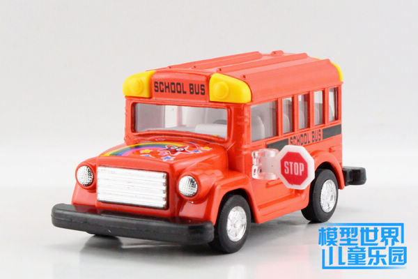 Candice guo alloy car model Kinsmart plastic motor toy cartoon style student school bus truck collection children christmas gift(China (Mainland))