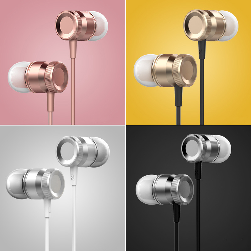 Colorful 3.5mm Wired Headphones Metal Earphone Stereo Music Hands Free Earbud with Mic for Smartphone Laptop tablet PC