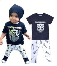 summer style baby boy clothes set Cartoon Superman t-shirt+guitar pants boy tracksuit set Brands Kids clothing set for girl set