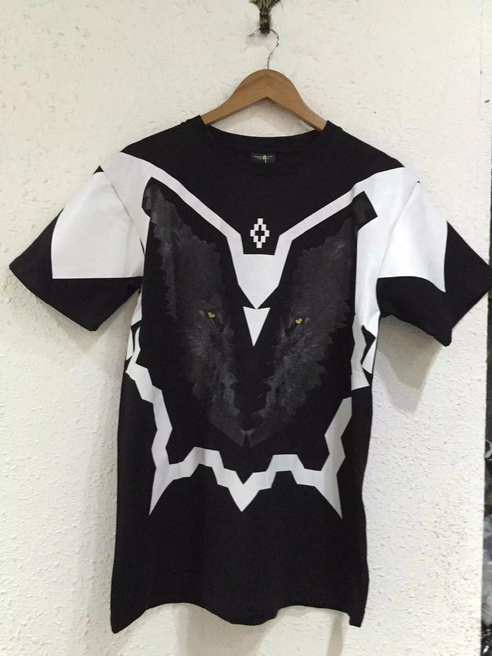 2015 new summer tide style MARCELO BURLON top tees Snowy Wolf print men / women cotton fashion Short sleeve t-shirt High quality(China (Mainland))