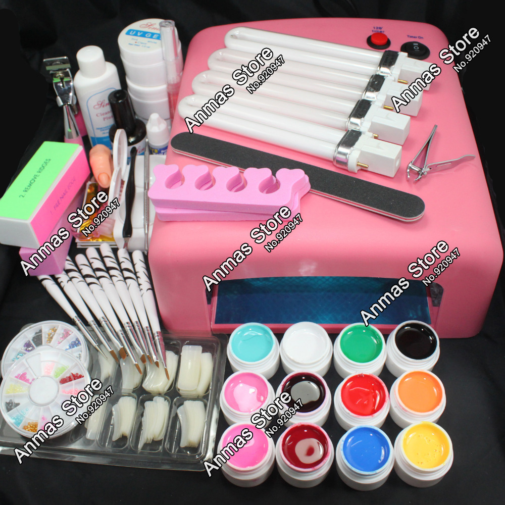 Pro 36W UV GEL Pink Lamp & 12 Color UV Gel Practice Fingers Cutter Nail Art DIY Tool Kits Sets #23set(China (Mainland))