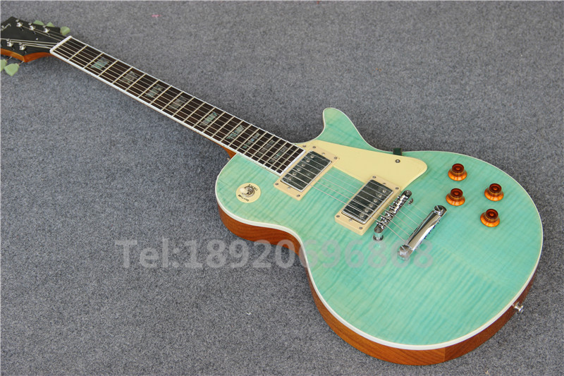 Best LP Standard Light Green Tiger Flame Top with White Binding, Abalone Inlay Electric guitar with Fret Binding,(China (Mainland))