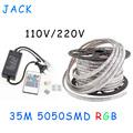 sale 35M 110V 220V High Voltage SMD 5050 RGB Led Strips Lights Waterproof IR Remote Control