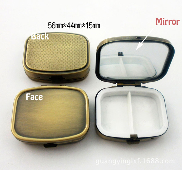 100PCS Bronze Pill Boxes Organizer DIY Medicine Case Holder 2 Compartments with compact mirror DHL Free Shipping(China (Mainland))