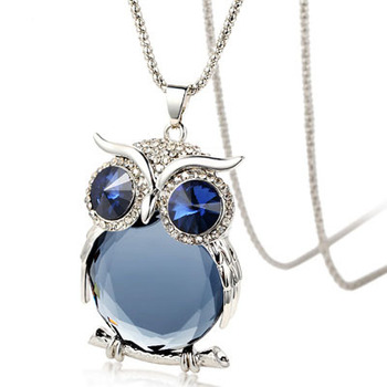 Owl Necklace with Rhinestone Crystals