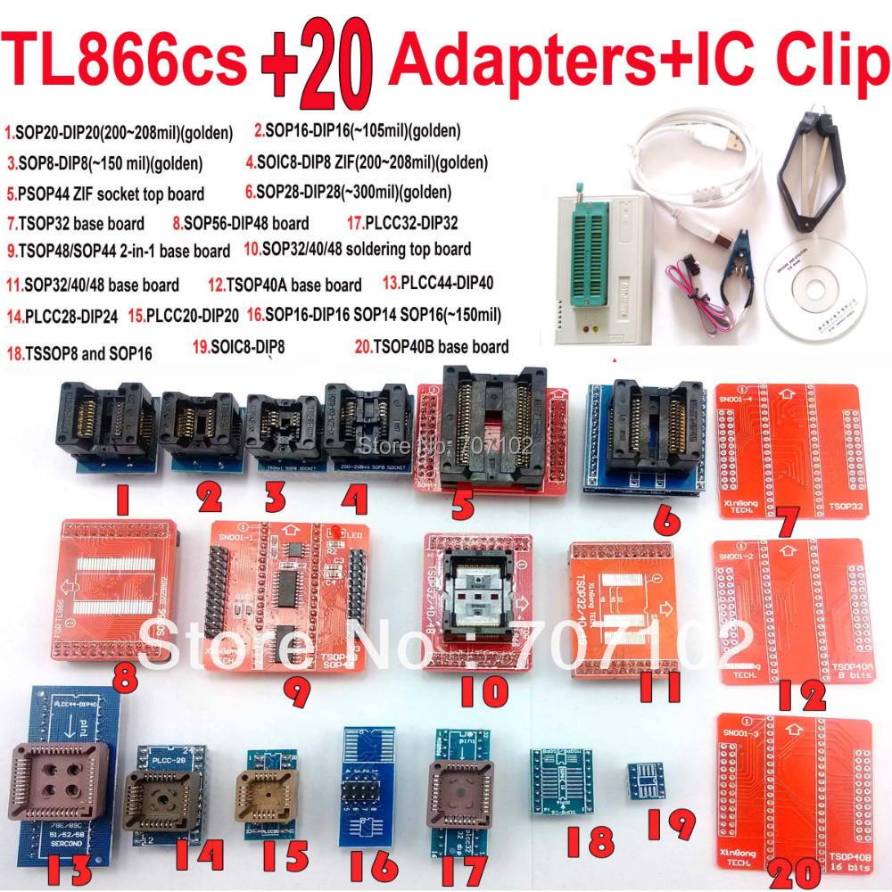 TL866CS programmer +20 adapters +IC clip english russian manual High speed TL866 AVR PIC Bios 51 MCU Flash EPROM Programmer(China (Mainland))