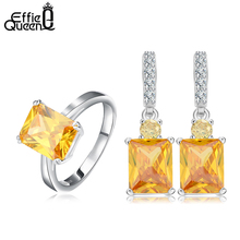 Effie Queen Choosing Ring Size Jewelry Sets for Women Square Shape Yellow Cubic Zircon Ring&Earrings Jewelry Sets WS69(China (Mainland))